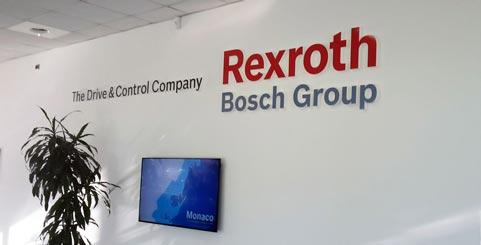Scritta per show room Bosch Rexroth