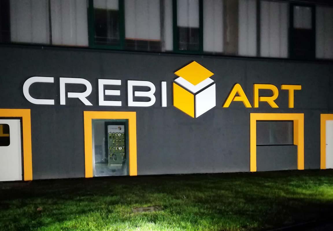insegna 3d per capannone Crebi Art