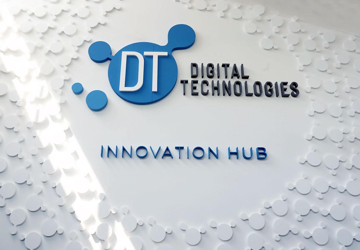 Logo in polistirolo per show room Digital Technologies