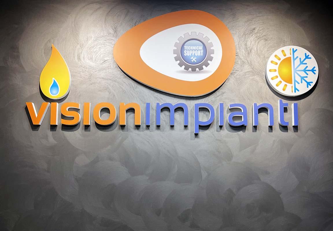 Logo in polistirolo per ufficio Tecno Vision