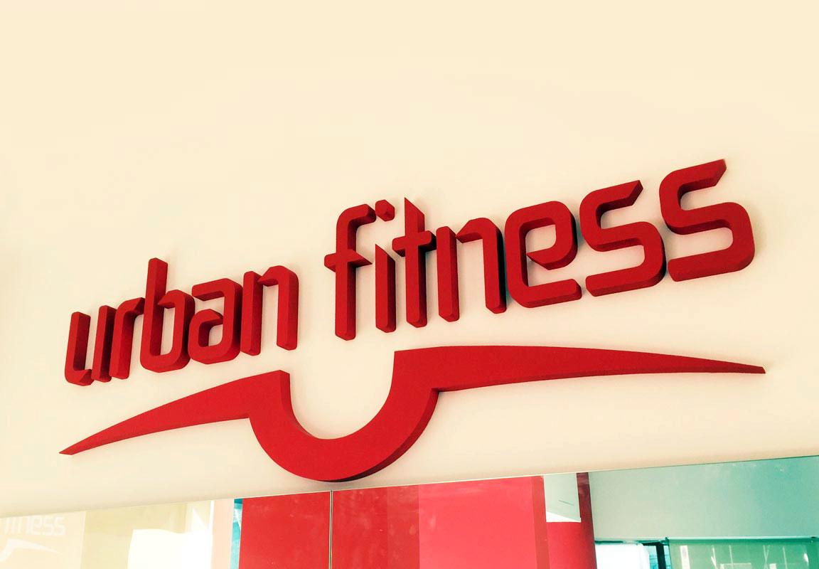 scritta in polistirolo 3d per palestra Urban Fitness da parete
